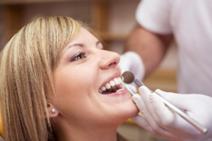 Woman having a dental checkup
